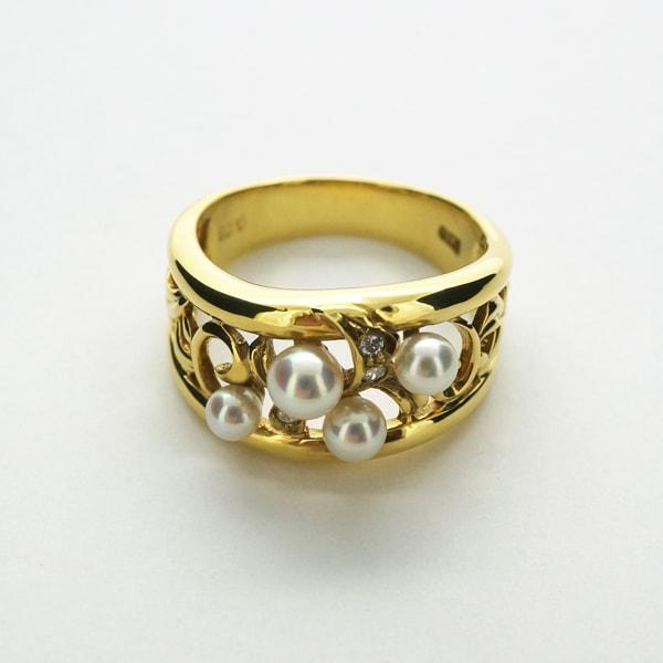 K18 イエローゴールド パール ダイヤモンド リング 日本製指輪 ダイアモンド 真珠 ゴールド k18 18k 18金 レディース ジュエリー ギフト プレゼント ラッピング 送料無料