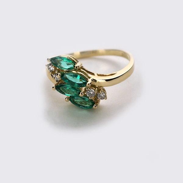K14 イエローゴールド エメラルド ダイヤモンド リング 日本製指輪 ダイアモンド エメラルド ゴールド k14 14k 14金 レディース ジュエリー ギフト プレゼント ラッピング 送料無料