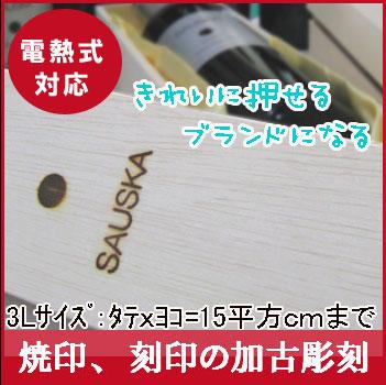 【オリジナル焼印】【オーダー焼き印】【3L】タテxヨコ=面積15平方cm以内【見積り無料】