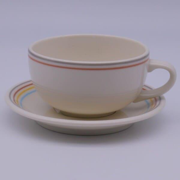 低価格 在庫限り 丸みを帯びたレトロ感があるシェイプにシンプルなラインだけのデザインは用途を選ばずとても使いやすい かわいい雰囲気で毎日使いたくなるアイテムです 美濃焼 レインボースープカップ 安い 激安 プチプラ 高品質 約230cc ソーサー 碗=約10.2x13x5.7cm スープカップ