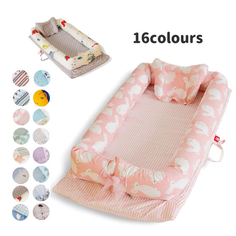 送料無料 ベビーベッド ベッドインベッド 2点セット まくら 赤ちゃんベッド 16colours ベビーガード 取り外し可能 持ち運びに便利 出産祝い 海外通販