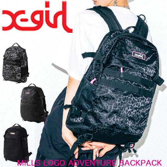 エックスガール リュック バックパック X-girl MILLS LOGO ADVENTURE BACKPACK リュックサック レディース 通勤 通学 大容量 A4サイズ 防水 防汚加工 105205053001