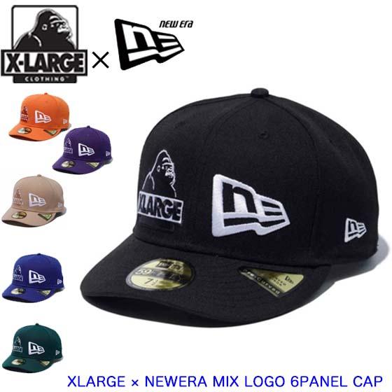 2種類のロゴが刺繍された存在感のあるコラボキャップ ブラック ベージュ 定番スタイル XLARGE エクストララージ 通信販売 キャップ ニューエラ × 帽子 101211051017 MIX 6PANEL メンズ NEWERA CAP LOGO