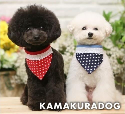鎌倉ドッグ 犬 バンダナ 猫 ハンドメイド犬猫用 ラッピング無料 プチプチ スターバンダナ 鎌倉DOG 犬猫 お気に入