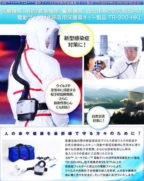 3M バーサフロー電動ファン付き呼吸保護具キット製品 TR-300-HKL(NIOSH認定品)