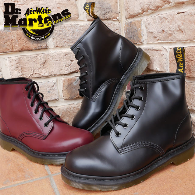 【24h限定10%offクーポン】【送料無料】ドクターマーチン 靴 101 Dr.Martens 6EYE BOOT メンズ レディース ブーツ ショート丈 6ホールブーツ ユニセックス 10064001(BLACK) 10064600(CHERRY RED)