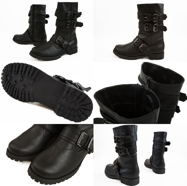 4caf8d5da81 ■ carol sister 4518 BL Engineer Boots (black) / ladies military boots  casual mens like belted casual rock tank sort style Black BLACK monotone / /