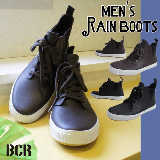 レインブーツ メンズ レインシューズ BC131 サイドゴアレインシューズ 2色 ブラック ブラウン スニーカー ハイカット 雨 雪 梅雨 レースアップ カジュアル 長靴 防水 靴 黒 茶
