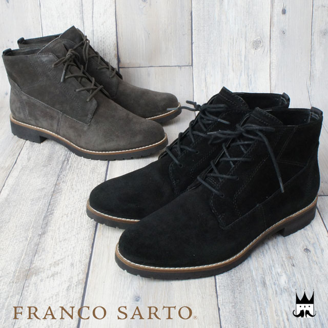 フランコサルト FRANCO SARTO レディース ブーツ D25C スエード レースアップブーツ ショート丈 カジュアル 軽量ソール 2色 ブラック グレー evid