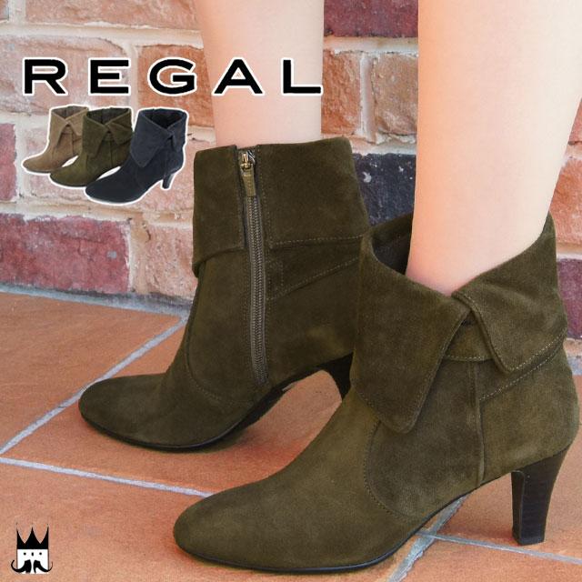 【送料無料】REGAL リーガル レディース ブーツ F53H ショートブーツ 本革 本革ブーツ レザー レザーブーツ ベロア サイドファスナー 軽量 滑りにくい 上品 ヒール約6.5cm evid
