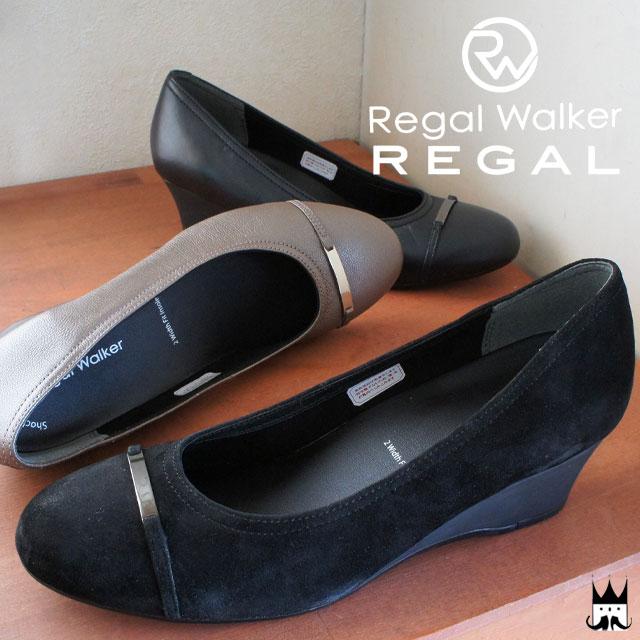 【送料無料】リーガルウォーカー REGAL WALKER レディース パンプス ウェッジソール HB38 本革 レザー 黒 ブロンズ evid |4