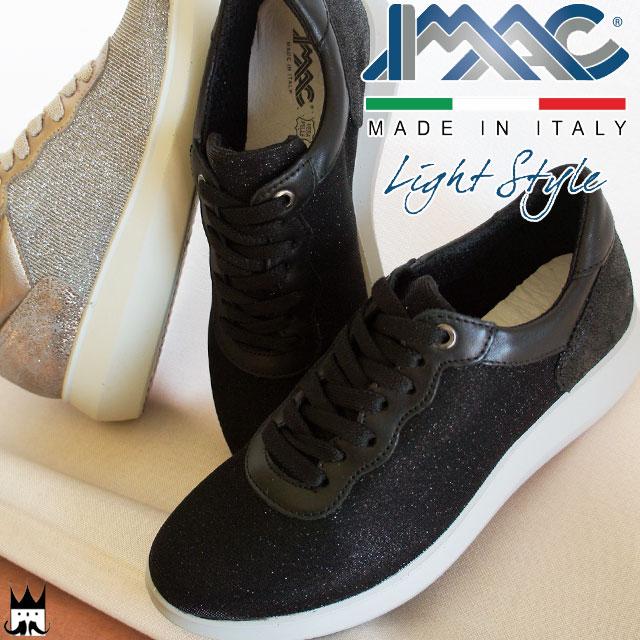 【送料無料】(一部地域除く)イマック レディース スニーカー 106020 106021 イタリア製 MADE IN ITALY ローカット カジュアル 011 ブラック 013 トープ IMAC