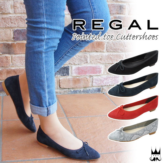 85c74b1fb1728 Regal Lady's flattie ribbon F39K genuine leather pointed toe cutter shoes  ぺたんこ shoes black black red navy snake pattern python REGAL evid