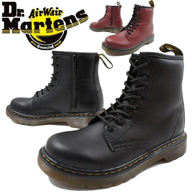 【送料無料】(一部地域除く)ドクターマーチン Dr.Martens デラニー 男の子 女の子 子供靴 キッズ ジュニア ブーツ 15382001・15382601 DELANEY レースアップブーツ カジュアルシューズ 8ホールブーツ 2色 ブラック チェリーレッド