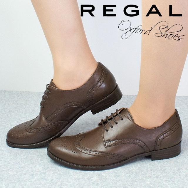 【送料無料】REGAL リーガル オックスフォードシューズ 本革 レザー レディース F28K 日本製 おじ靴 ブラウン ウィングチップ evid |4