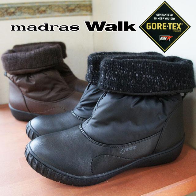 マドラスウォーク レディース ショートブーツ MWL2093 ゴアテックス スノーブーツ ウインターブーツ 防水 防滑 ブラック ダークブラウン 4E madras Walk evid