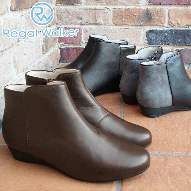 【送料無料】リーガルウォーカー REGAL WALKER ショートブーツ 本革 レザー レディース HB65 黒 ブラック ブラウン グレー バイカラー ローヒール evid |4