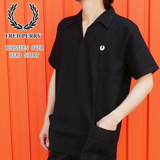 フレッドペリー ポロシャツ メンズ 【送料無料】(一部地域除く) M5317 リイシュー オーバー ハードシャツ 半袖シャツ 襟付き ウェア カジュアル 半袖 トップス アパレル コットン ブラック 黒 FRED PERRY evid