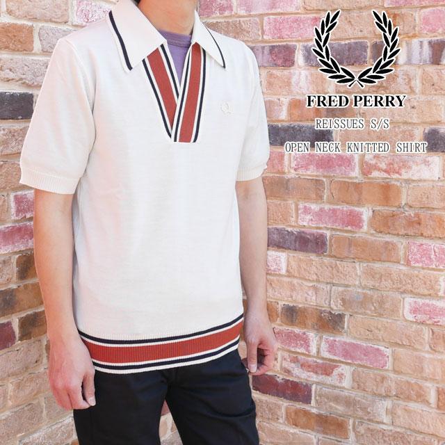 フレッドペリー ポロシャツ メンズ K5300 【送料無料】(一部地域除く) リイシュー S/S オープンネック ニットシャツ 襟付き ウェア カジュアル 半袖 トップス アパレル ウール スノーホワイト 白 FRED PERRY evid