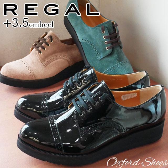 【送料無料】REGAL リーガル レースアップシューズ 本革 レザー レディース F51L オックスフォードシューズ スエード ウェッジソール ウェッジヒール マニッシュ トラッド おじ靴 evid |4