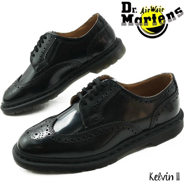 【送料無料】ドクターマーチン 5ホールシューズ レディース メンズ 革靴 Kelvin II ブローグシューズ オックスフォード マニッシュ レースアップ ブラック 黒 メダリオン ウィングチップ フォーマル パーティ ビジネスシューズ 25026001 evid