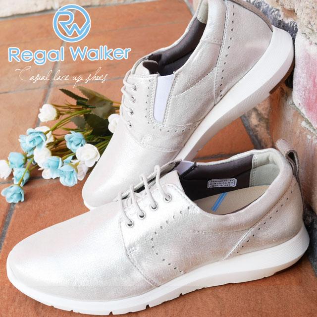 結婚祝い 【送料無料】リーガルウォーカー REGAL WALKER レースアップシューズ 本革 レディース 革靴 レザー ウォーキングシューズ サイドゴア ミセス シルバー 3E 4E 調節可能 HB80 evid, ドライブワールド d8b0d394
