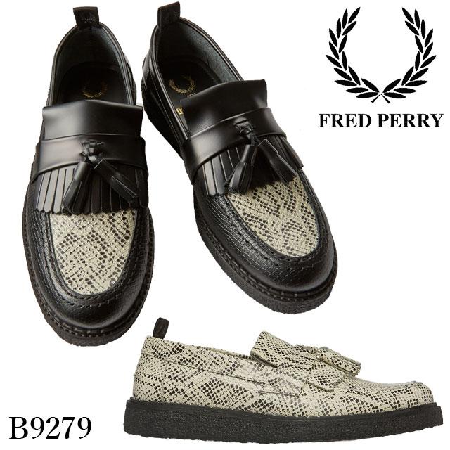 【送料無料】FRED PERRY×GEORGE COX フレッドペリー×ジョージコックス エンボス タッセルローファー メンズ コラボ スネークプリント カジュアルシューズ 革靴 本革 厚底 220 ブラック 黒 100 ホワイト 白 B9279 FRED PERRY evid
