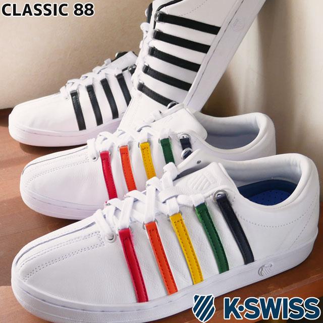 【送料無料】ケースイス K-SWISS スニーカー メンズ レディース クラシック88 ローカット カジュアルシューズ レザースニーカー 133 ホワイト/レインボー 102 ホワイト/ブラック 白/黒 06322 evid