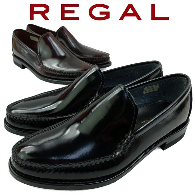 REGAL リーガル ビジネスシューズ メンズ 【送料無料】革靴 紳士靴 ヴァンプ スリッポン ブラック 黒 ダークブラウン 43VR evid