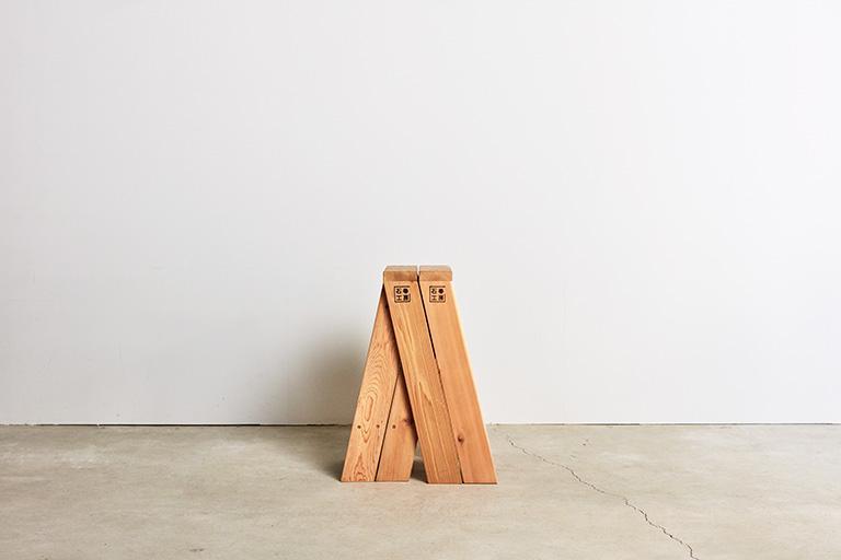 【正規品】【受注生産】【納期約1ヶ月】石巻工房 AA STOOL 2脚セット アルファベット A スツール デッキ材 シンプル 自立 来客時 2つに分けて使う 横にスタッキング 美しい コンパクト 収納 座面高 560mm 少し高い 背筋が伸びる