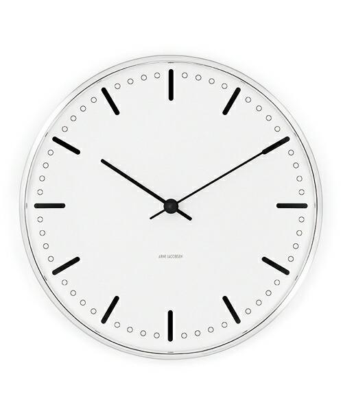 ARNE JACOBSEN Wall Clock CityHall 210mm アルネヤコブセン 壁掛け時計 シティホール ルードブレ市庁舎 ウォールクロック ROSENDAHL 磨き抜かれたポリッシュケース 緻密 ミニマリズム クール シンプル デザイン モダニズム 北欧 ギフト