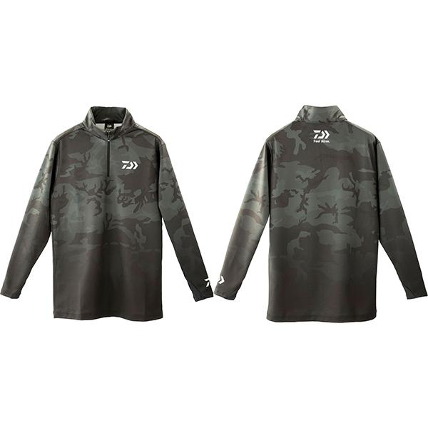 トップス 【ダイワ】 19 ブレスマジック ハーフジップシャツ DE-33009 ブラックカモ L 【2019秋冬モデル】 (G2)