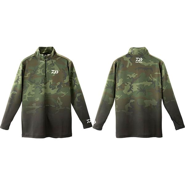 トップス 【ダイワ】 19 ブレスマジック ハーフジップシャツ DE-33009 グリーンカモ 3XL 【2019秋冬モデル】 (G2)