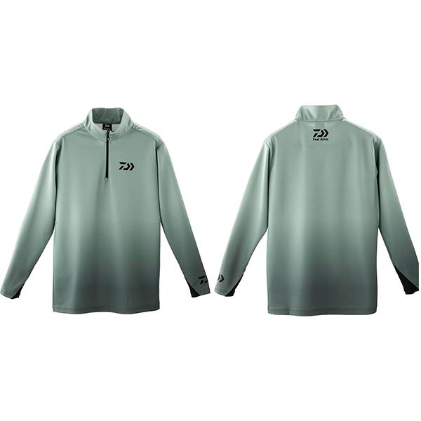 トップス 【ダイワ】 19 ブレスマジック ハーフジップシャツ DE-33009 グレー 2XL 【2019秋冬モデル】 (G2)