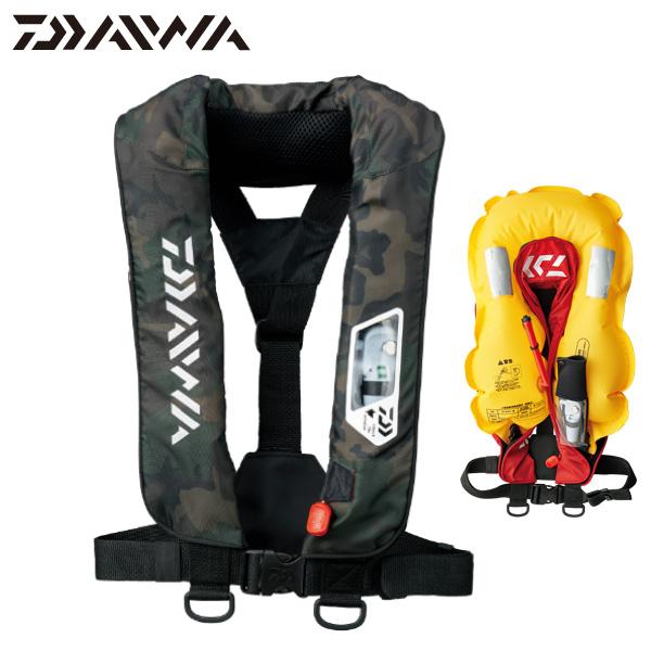 【DAIWA/ダイワ】17 DF-2007 ウォッシャブルライフジャケット(肩掛けタイプ手動・自動膨脹式:Aタイプ) グリーンカモ【即納可能】