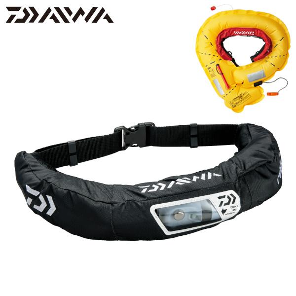 【DAIWA/ダイワ】17 DF-2207 ウォッシャブルライフジャケット(ウエストタイプ手動・自動膨脹式:Aタイプ) ブラック【即納可能】