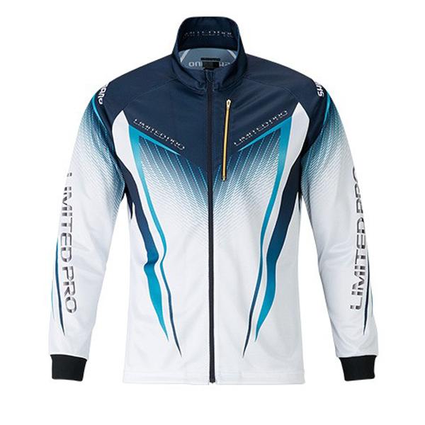 【マラソン中ポイント5倍】【SHIMANO シマノ】 シマノ SH-011S フルジップシャツLIMITED PRO(長袖) ホワイト/ブルー XL 2019SS
