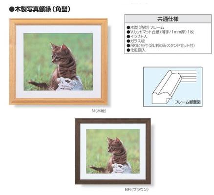 写真額 木製 特価品コーナー☆ 木製写真額縁 気質アップ ワイド六ツ切判 フ-M95-13 角型