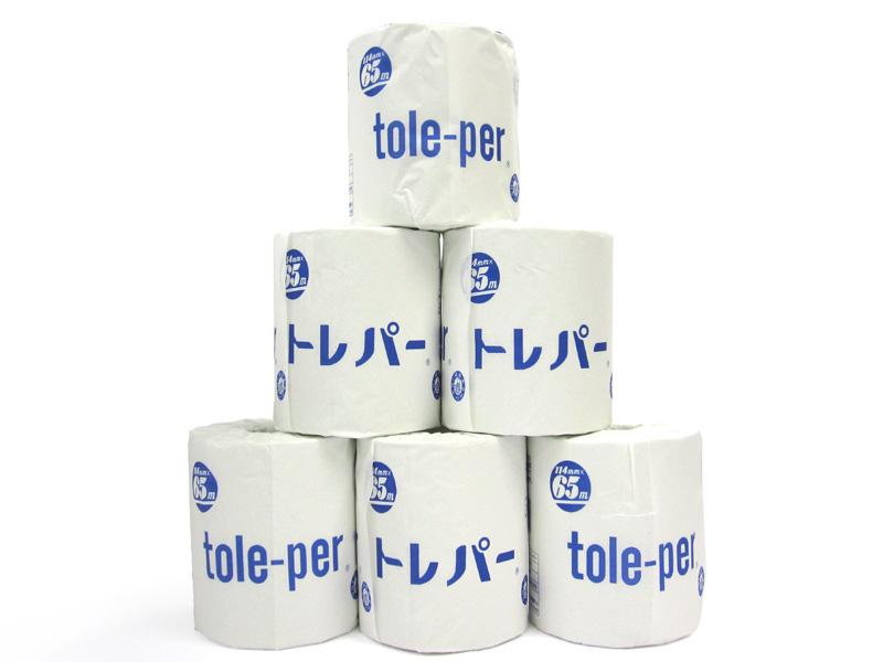 業界No.1 送料無料 トイレットペーパー Tole-Per トレパー65M巻 買い物 100ロール入り 1ケース