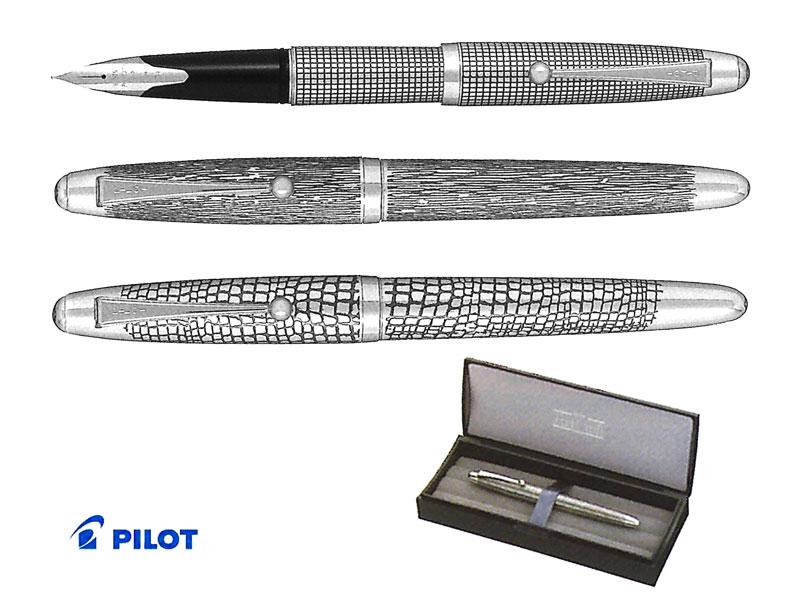 【万年筆】Pilot パイロット万年筆 シルバーン銀蝕刻 FK-5MS格子/つむぎ/石だたみペン先:F/M