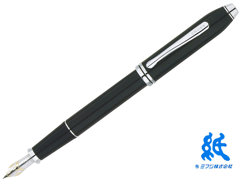 【万年筆】CROSS クロスTOWNSEND タウンゼント#AT0046-4ブラックラッカーロジウムプレート18金ペン先ロジウムプレート装飾F・M
