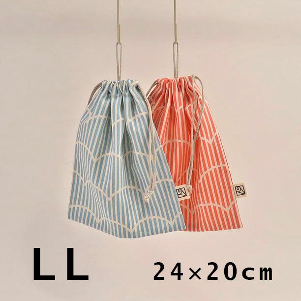 使い勝手の良い コンパクトに引っ掛けられる ループ付き巾着袋 給食袋 2cm刻みでサイズが選べる 24cm×20cm in プクプクストライプ Made loop-LL 送料無料カード決済可能 Japan