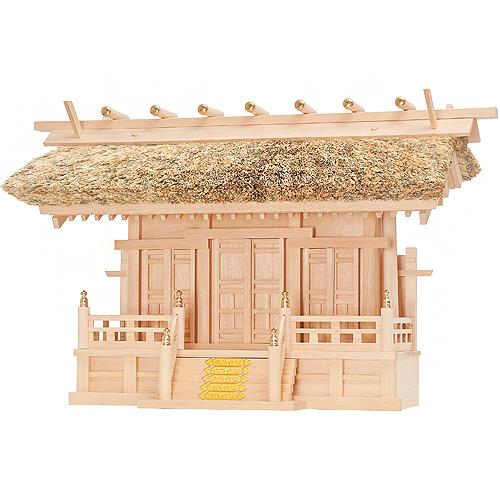 【神棚】茅葺通し屋根三社  唐戸仕様 木曾桧