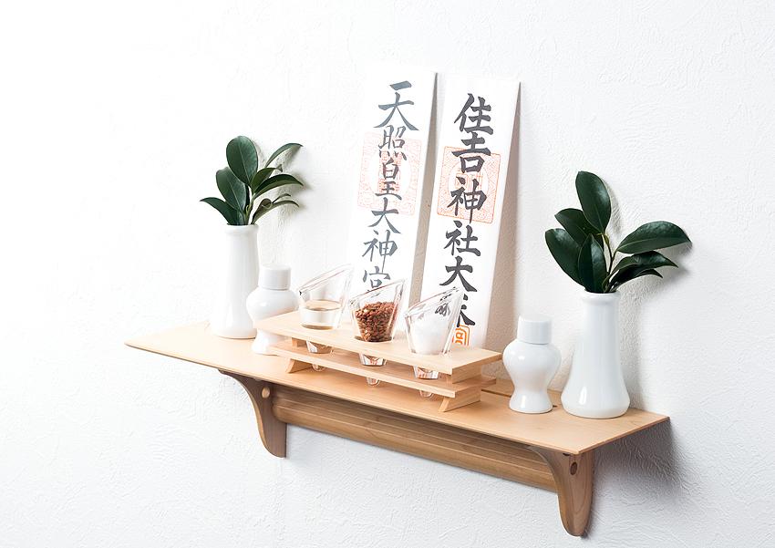 mitsuba+Kaede モダン神棚セット 棚板にモダン神具がセットに! No.11