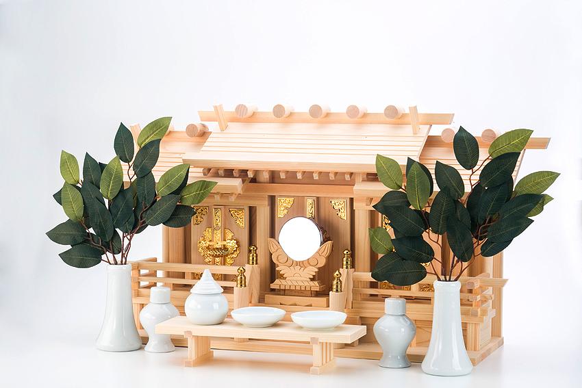 神棚 金具神棚セット 聖「ひじり」 低床屋根違い三社