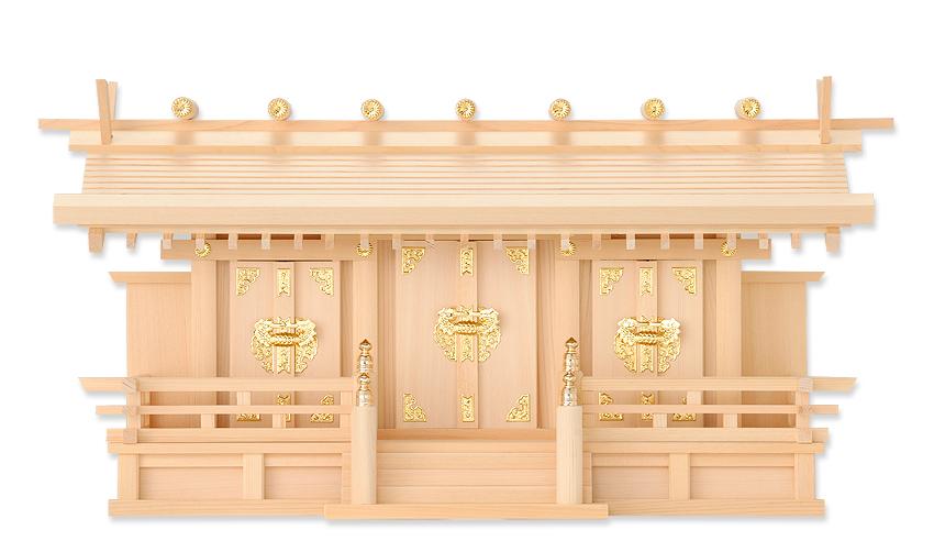 神棚 通し屋根三社 月読(低床神棚)木曽桧製 神棚