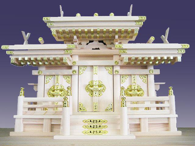 【神棚・神具】マス組付き屋根違い三社高級神棚