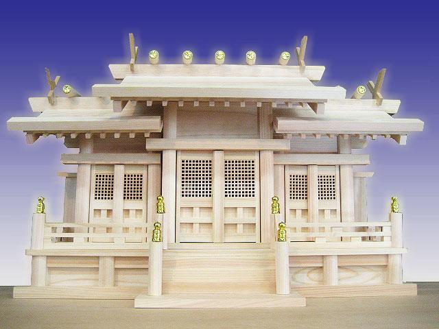 【神棚】 屋根違い三社白川(中)(神棚神具)