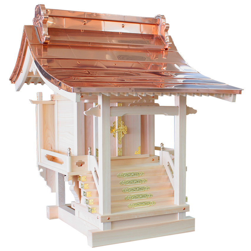 外宮  流れ宮 尺2寸 東農桧製 高級感ある反り屋根が特徴。
