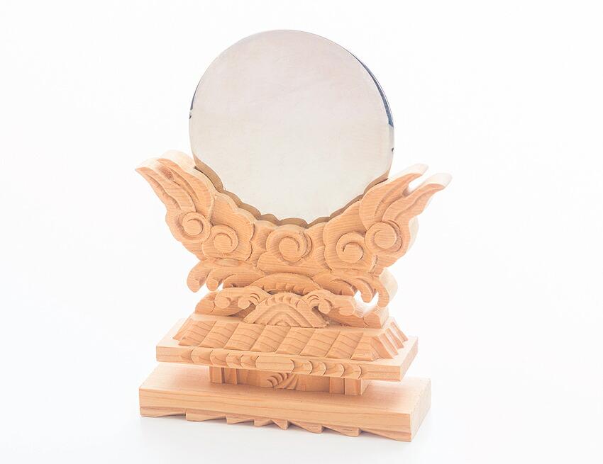 神棚 神具 神鏡 【極上彫り神鏡 2.5寸】 高級 鏡 彫刻 ヒバ